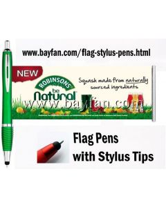 Flag Stylus Pens, 3 in 1, Custom Printed on both sides of Flag, HSBANNERSTYLUS-17M,Free Shipping & No Setup  Charges,4 weeks to your door!